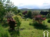 jardin en pelouse et arborée avec vue